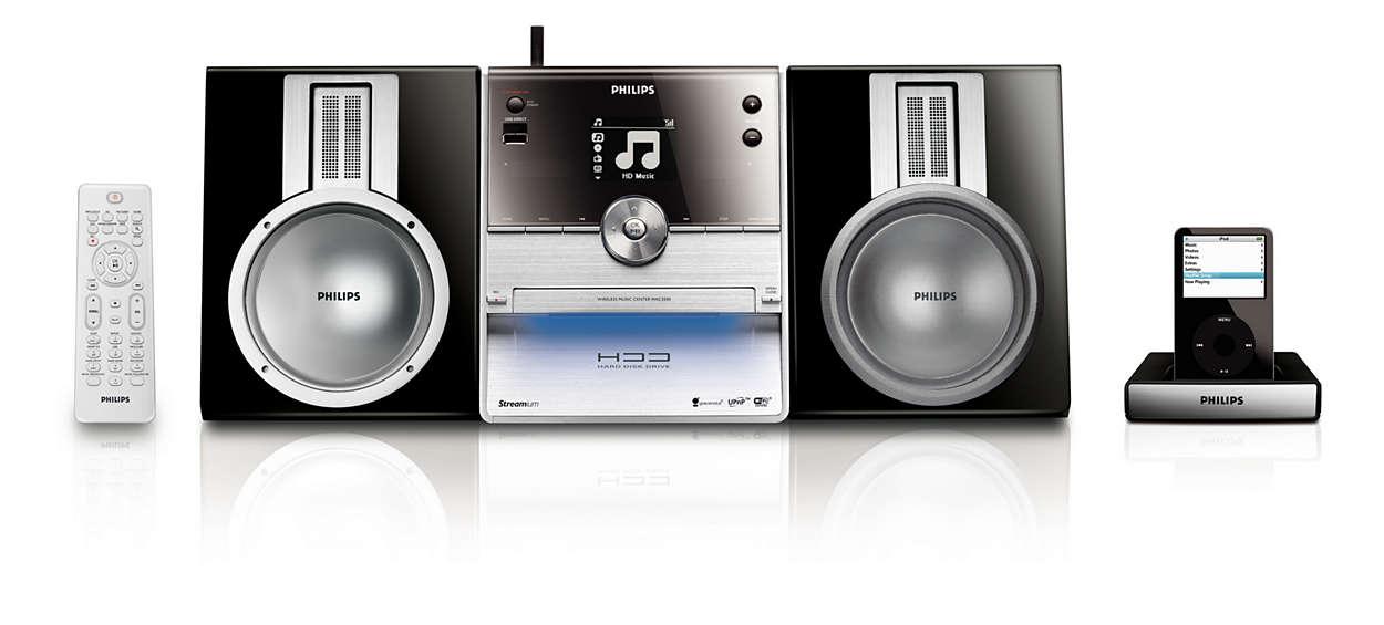 Reproduza, ligue à base e reproduza toda a sua música num sistema