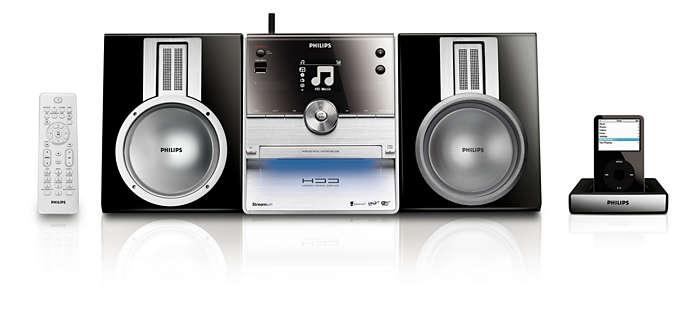 Transmita, acople e reproduza suas músicas em um único sistema