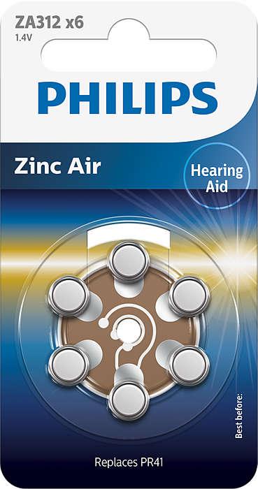 Hoogwaardige zink-lucht technologie voor gehoorapparaten