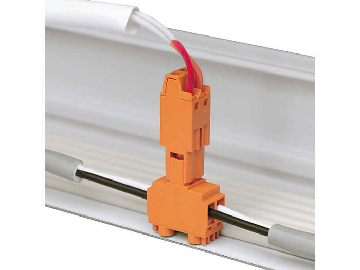 Connectors to connect 0-10 V line of the HFR gear to the through-wiring in the trunking, in the case of 9 wires