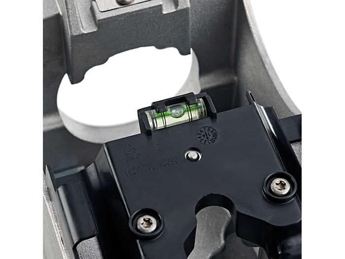 Em caso de montagem na entrada lateral, o nível de bolha de ar assegura que a luminária é instalada horizontalmente