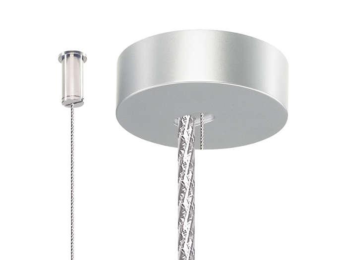 Набор из 2 стальных тросов с потолочной фиксацией (SM2), 1 потолочной крышкой и соединительного шнура, выполненного под металл. Набор поставляется как часть подвеса светильника