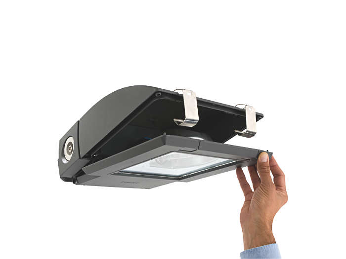 When opened, front cover hinges back to provide full access to gear and lamp compartment