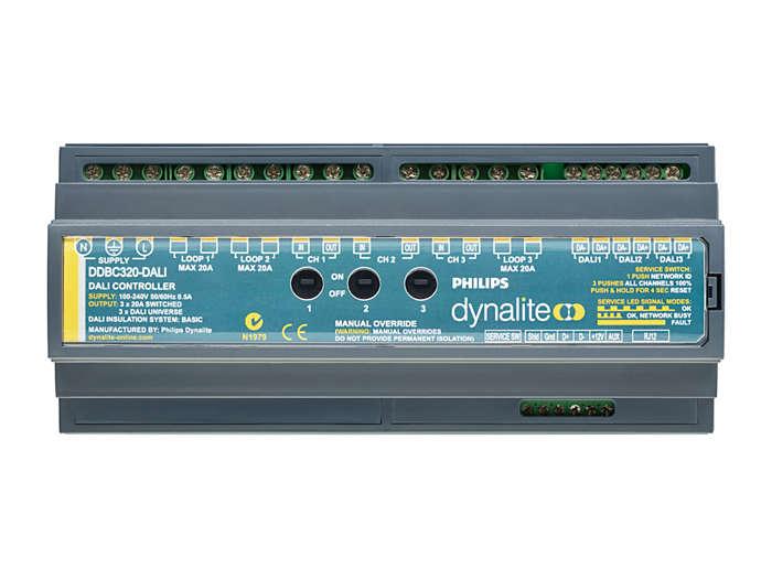 Front of the DDBC320-DALI 3 x 20A DALI Driver Controller