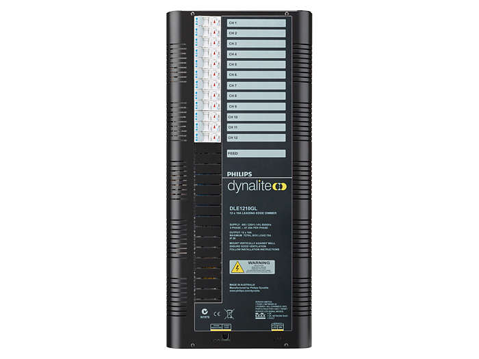 Front of the DLE1210GL 12 x 10A Leading Edge Dimmer Controller