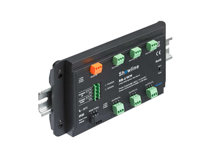 The Vaya DMX Splitter & Booster supports DIN rail mounting (brackets included)