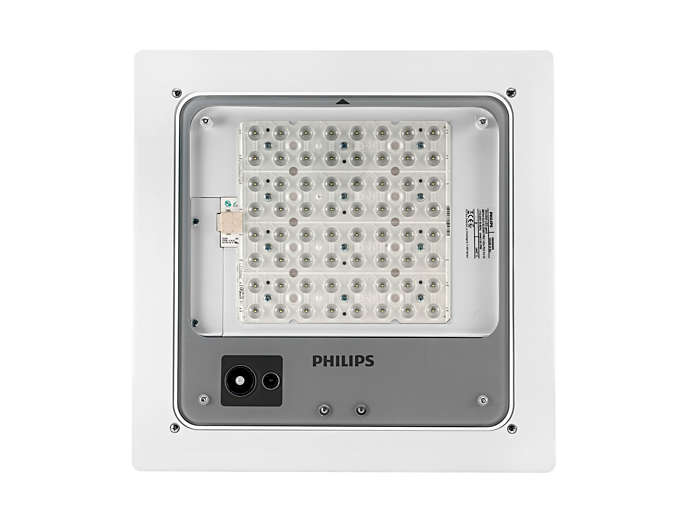 Mini 300 LED gen2 BBP400 recessed version is delivered with a ceiling mounting frame available in a choice of three versions for cut-out openings of 360x360, 470x470 or 560x410 mm.