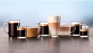 Geniet in een handomdraai van 8 koffievariaties, waaronder latte macchiato