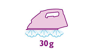 Continue stoom tot 30 g/min voor gladdere strijkresultaten