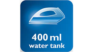 Extra large 400 ml watertank needs less refilling