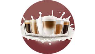 Njut av 4 drycker med kaffe och mjölk med en knapptryckning