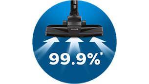 Usisava 99,9 % prašine* za postizanje vrhunskih rezultata čišćenja