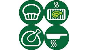 Veelzijdig: frituren, bakken, grillen, braden en zelfs opwarmen.