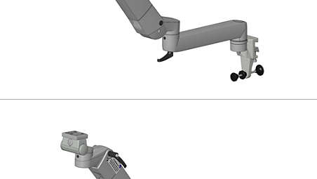 Height, adjustable arm with extension on horizontal standard runner