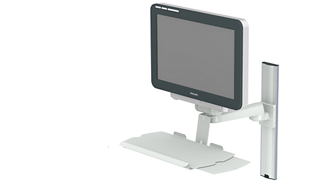 Single pivot arm (250mm) mounting options, with keyboard holder Mounting solution