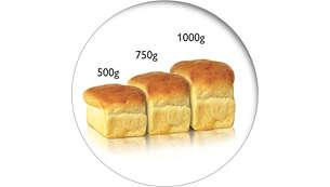 Cocine 3 tamaños de pan de hasta 1kg