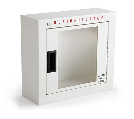 Defibrillator cabinet, basic AED accessories