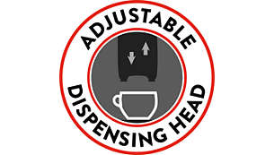 Adjustable dispensing head to fit every cup