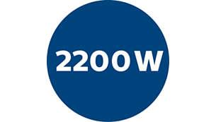 2200 Watt motor generating max. 500 Watt suction power