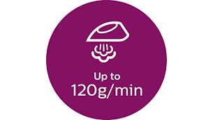 Nepārtraukts tvaiks līdz pat 120 g/min
