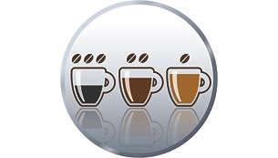 Opción de selección de concentración para variar la intensidad de tu café