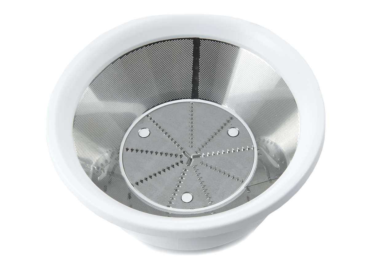Keeps fruit and vegetable fibres in one place