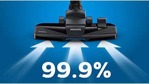 Zachycením 99,9% prachu* zajišťuje skvělé výsledky při úklidu