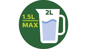 Maximales Fassungsvermögen: 2l, funktionsfähiges Fassungsvermögen des Behälters: 1,5l