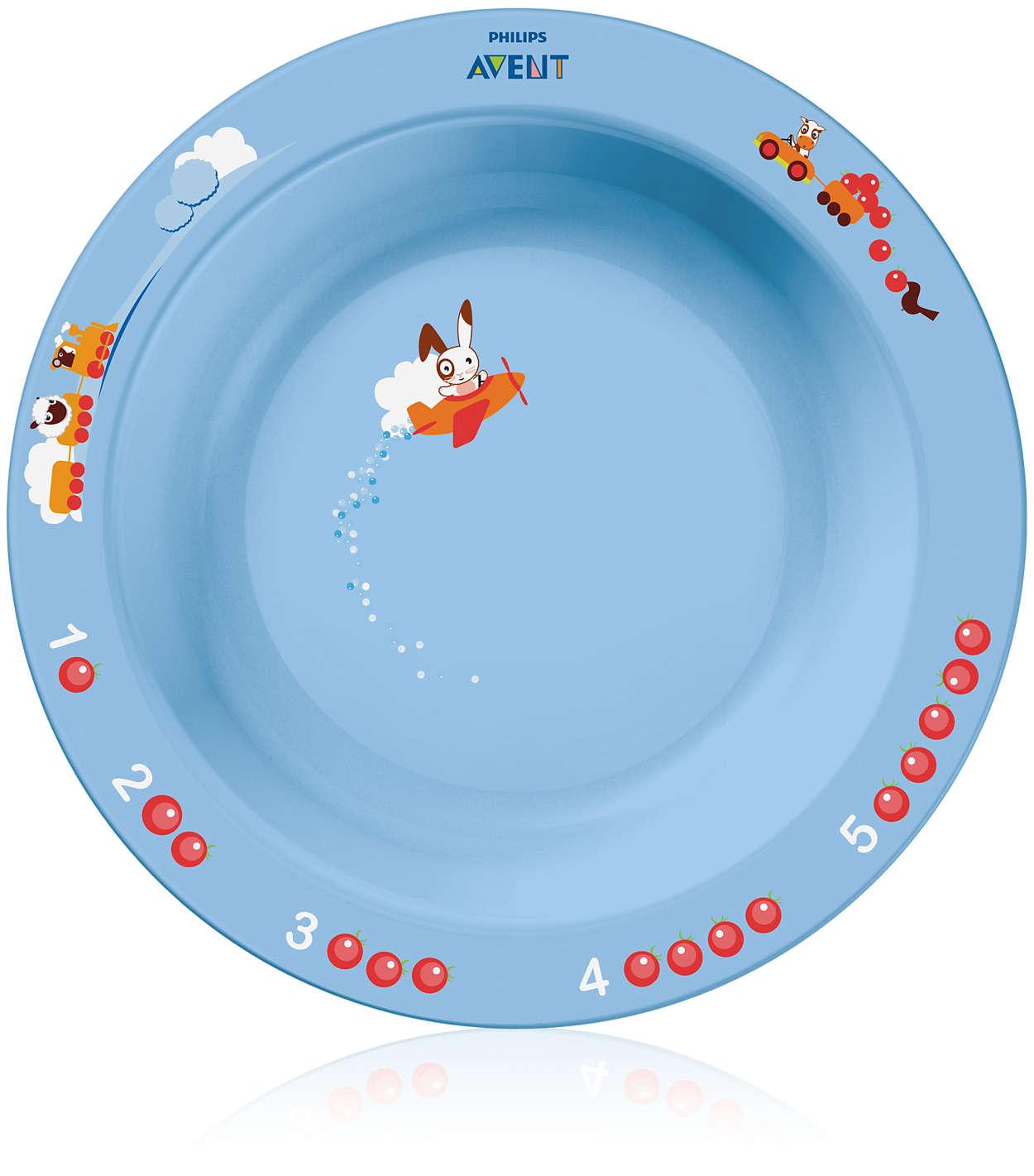 Estimula a alimentação por meio de um aprendizado divertido