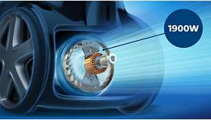 Долговечный мотор 1900Вт с высокой мощностью всасывания