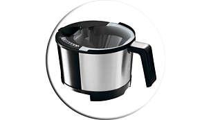Irrotettava 2-in-1-täyttöosa veden ja kahvijauheen helppoon täyttöön