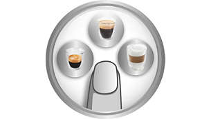 One touch espresso, long coffee and cappuccino