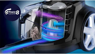 第八代飓风离尘技术可以提供更长时间的强劲吸力