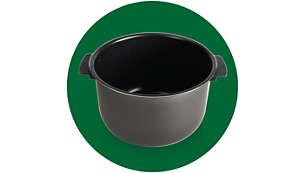 Cuve avec poignées et revêtement en céramique pour simplifier l'utilisation et le nettoyage