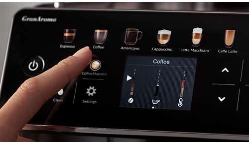 3 presetări de gust, personalizate după nevoile dvs. cu CoffeeMaestro