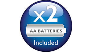2 Philips AA bateries are included in the package