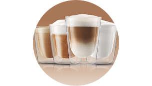 Geniet van 4 soorten koffie met melk met één druk op de knop