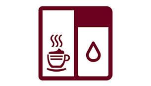 Romige cappuccino's met geïntegreerde melkbeker met één druk op de knop
