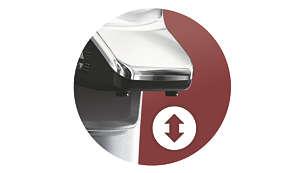 Nastavitelná tryska zpravého kovu se přizpůsobí vašemu oblíbenému šálku