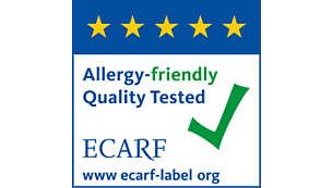 Certifikováno evropským výzkumným centrem jako vhodné pro alergiky