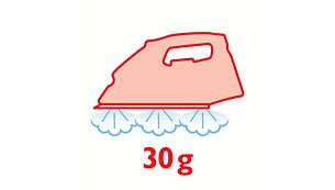 Débit vapeur jusqu'à 30g/min pour l'élimination des faux plis