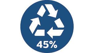 45% recycelte Kunststoffe