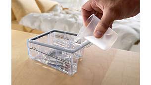 Kammerlokk og -sokkel tas fra hverandre ved rengjøring. Kan vaskes i oppvaskmaskin.