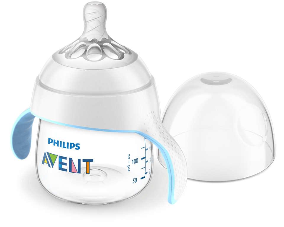 Padėkite mažyliui pradėti gerti iš puodelio