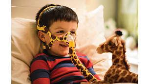 Et børnevenligt materiale med girafprint