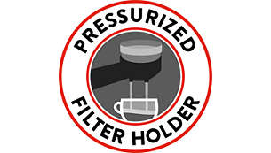 Pressurised filter holder for perfect crema