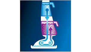 Depósitos separados de agua sucia y limpia