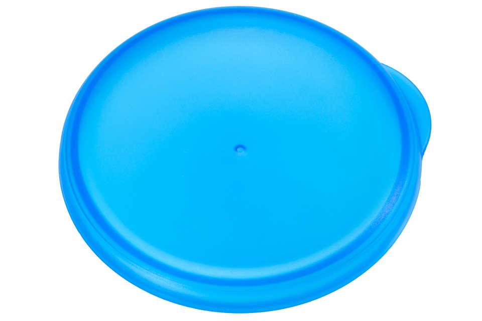 Blauwe dop om de grote-mensenbeker af te sluiten