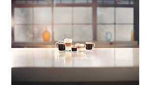 Genießen Sie 5Kaffeespezialitäten auf Knopfdruck, u.a. Cappuccino