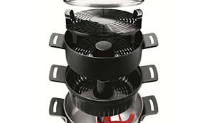 Pasta insert, steaming basket and tray for different recipes